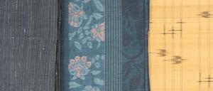 紬にもたくさんの種類があります(左から能洲紬、小千谷紬、久米島紬)
