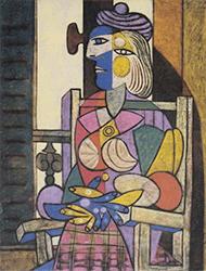 パブロ・ピカソ リトグラフ 「窓辺に座る女」