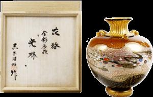 黒木国昭 花器 金彩象嵌「光琳」