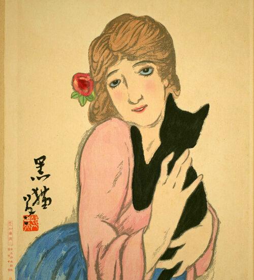 竹久夢二の代表作「女十題:黒猫」