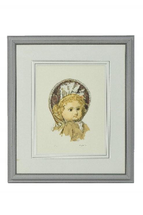 小磯良平 リトグラフ「フランス人形」