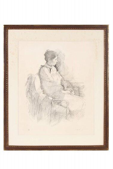 小磯良平 リトグラフ 「若い女の座像」