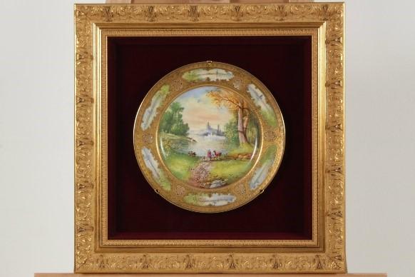 リモージュ 陶板画 風景絵皿