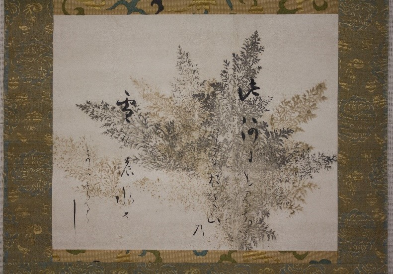 小見出し:作品①「 金銀刷檜絵下絵和歌巻断簡」