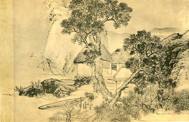 湖村漁舍圖 松村呉春
