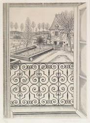 長谷川潔「窓からの眺め(シャトー・ド・ヴェヌヴェルの窓)」