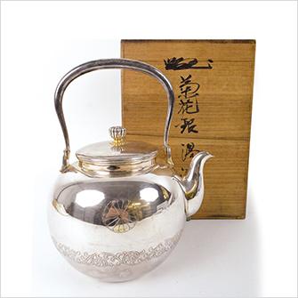 銀製 菊花 湯沸