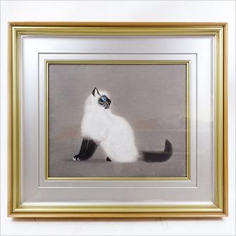 加山又造 木版 「猫」
