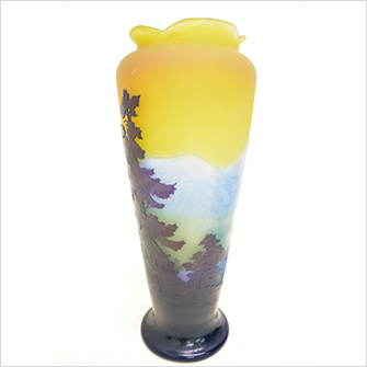 ガレ 山水風景文 花瓶