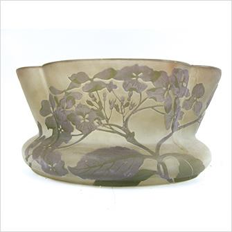 ガレ 紫陽花文 鉢