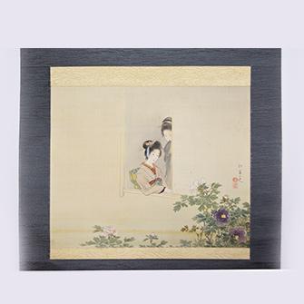 上村松園 「姉妹賞牡丹」