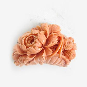 桃色珊瑚 帯留