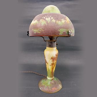 ガレ 湖水風景文 ランプ