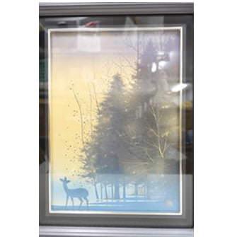 「仔鹿と朝」紙本・彩色