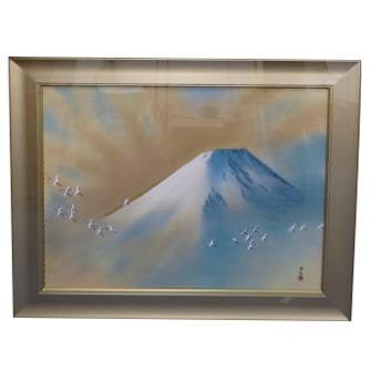 「霊峰飛鶴」木版画