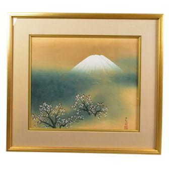 「桜に不二」木版画