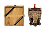 竹製彫刻梅浮彫竹根香炉