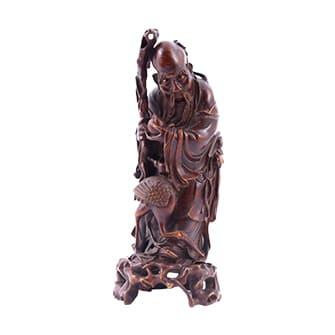竹製彫刻竹根寿老人置物