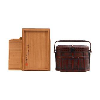 竹製小判形割手提籃