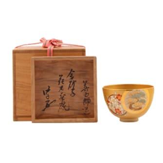 金砂子仁清写花丸茶碗