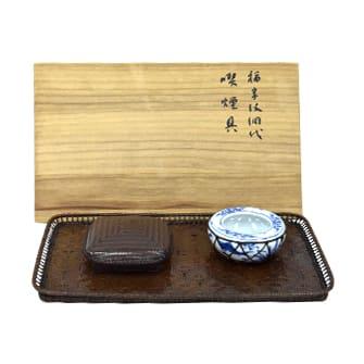 福字紋網代喫煙具