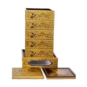 金蒔絵五段重箱 貝の図 内側梨地 重箱台セット