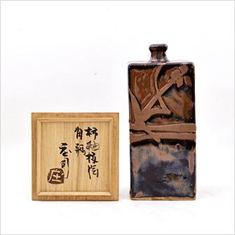 柿釉抜絵角瓶