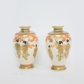 薩摩双瓶 美人図花器