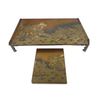 平目地山水蒔絵硯箱